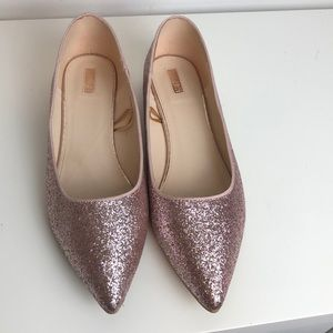Pink sparkle glider shoes with low heel